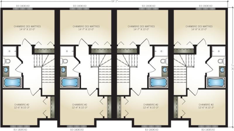 Plan de maison 4 logements - Plan maison avec appartement ...